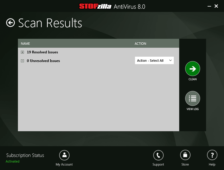 Scan results Screen